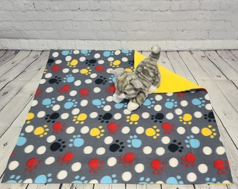 Fleece Cat Blanket - Luxury Cat Blanket - Paw Prints on Gray Fleece