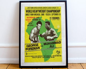 1974 Rumble In the Jungle Mohammad Ali George Foreman Boxing Poster  A3 Reprint