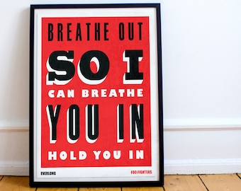 Foo Fighters Lyric Poster - print / art / poster - Song Typography - Everlong