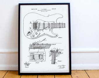 Fender Guitar Poster / Wall Art / Patent design # 2741146 - Gift for Music Fans