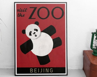 Beijing Zoo Poster Panda - Vintage Travel Poster - High Quality