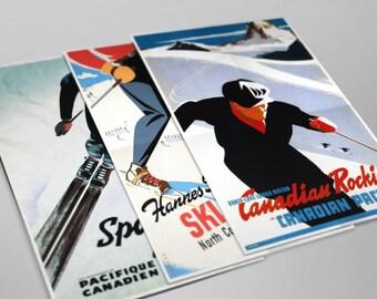 Vintage Ski Travel Poster / Print / Art - A set of three Prints - Holiday Skiing