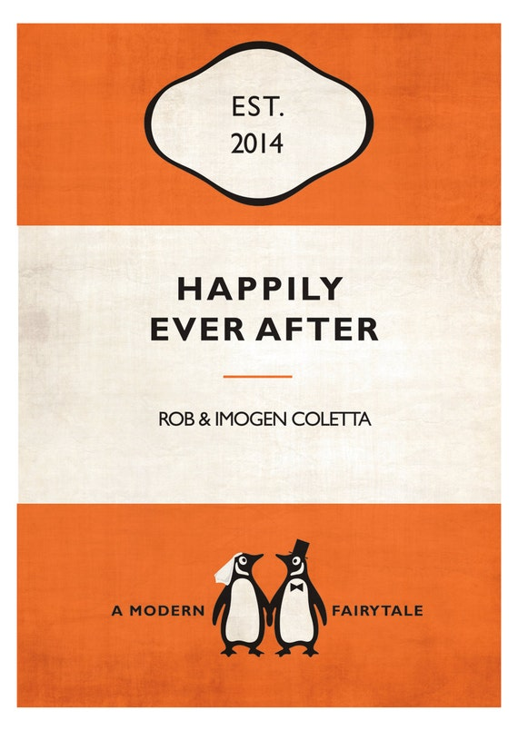 Birthday etc Personalized Penguin Book Cover Print Anniversary Bespoke Gift