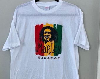 Vintage Bob Marley, Size XL Tee ,White Band Shirt, Upcycled Concert Shirt, Bahamas, Reggae Tshirt, Jamaica vintage Tee, Graphic Band Tshirt