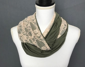 Fall Feminine Infinity Scarf, Camo Green n Dusty Pink Lace Scarf, Soft Super Cute Scarf, Gift for Mom, Jersey knit scarf