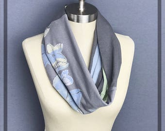 Dancing Queen Scarf, LGBT Scarf, Upcycled Flower Infinity Scarf in Gray, Green n Blue, ABBA, Fire Island  Unique One Of A Kind Handmade