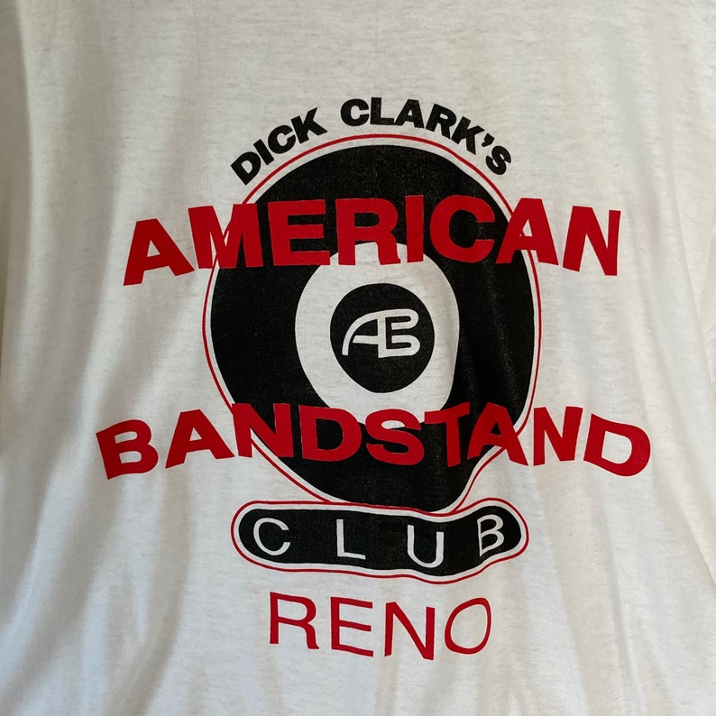 TV show shirt Rock n Roll Graphic Vintage American BandStand Tee Upcycled XL White Cotton Authentic 70/'s Band T shirt Screen Star Tag