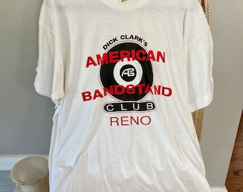 Authentic 70's Band T shirt, Vintage American BandStand Tee, Screen Star Tag, Upcycled XL White Cotton, TV show shirt, Rock n Roll Graphic