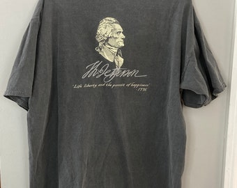 90's Life and Liberty, Thomas Jefferson Tshirt, Size 2XL Gray Cotton Shirt, BACK Shown in 1st Photo! Political Quote Patriot Tee, Upcycled