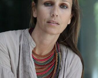 Multi Strand macrame Massai necklace