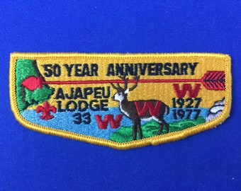 Boy Scout OA Miquin Lodge 68 Order Of The Arrow Pocket Flap Patch Blue Background
