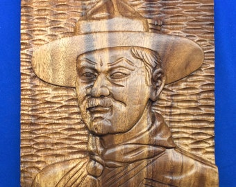 Boy Scout Founder Baden-Powell Wooden Hand Carved Wall Hanging