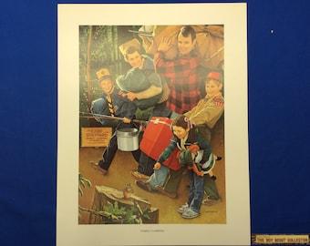 "Boy Scout Print By Joseph Csatari  Family Camping 11""x14"""
