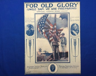 For Old Glory Official March Song Sheet Music Original Vintage Item American Junior Naval And Marine Scout Inc.