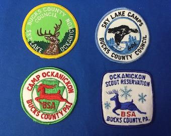 Boy Scout Four Vintage Bucks County PA Camp Patches Sky Lake & Ockanickon