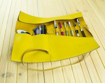 Leather Pen Roll - Pencil Case - Leather Brush Roll - Brush Holder - Pen Organizer -  Leather Pencil Roll Leather Brush Case Gift for Artist