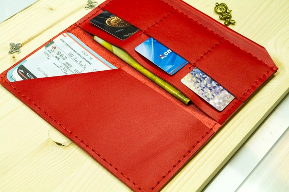 Red Leather Travel Case Boarding Pass Wallet Nomad Style Etsy