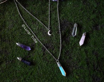 silver layered double necklace, stainless steel, amethyst pendant, rose quartz pendant, moon, opalite, birthstone january february october