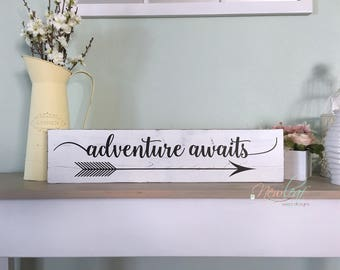 Adventure Awaits  - Adventure Awaits Sign - Graduation Gift - Arrow Sign - Lets Be Adventurers - Wood Signs - Distressed Wood Sign