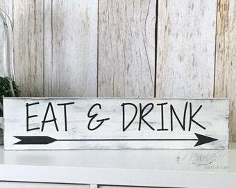 Marvelous EAT Sign   Eat U0026 Drink Sign   Distressed Kitchen Sign   Kitchen Decor    Drink