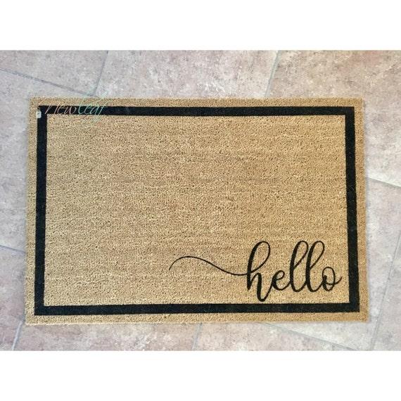 Hello Doormat Hello Door Mat Home Doormat Wedding Gift Etsy