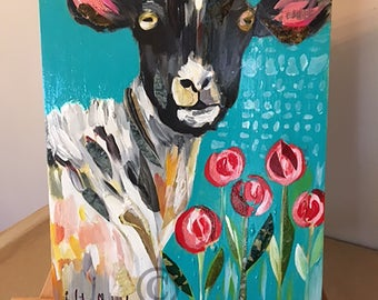 "12""x16"" Original Sheep & Roses by Liesl Long Chaintreuil"