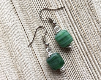 Silver and Green Dangle Earrings - Statement Jewelry - Unique Accessories - Gifts for Her
