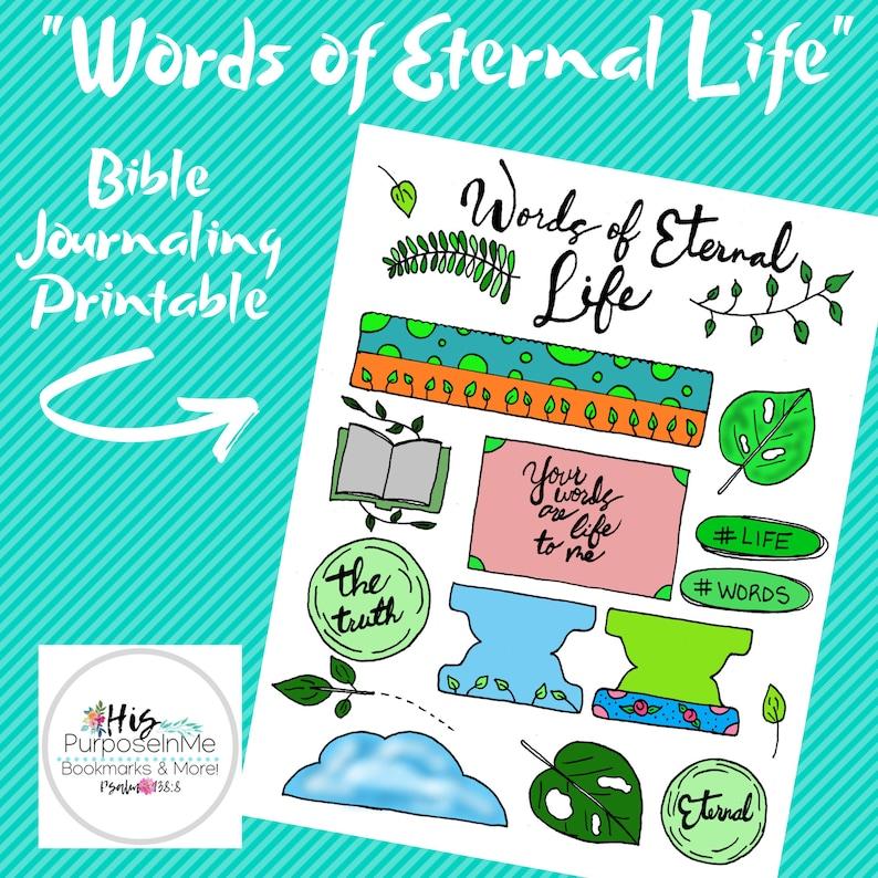Words of Eternal Life  Bible Journaling  Printable  Bible image 0