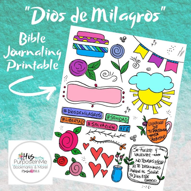 Dios de Milagros  Bible Journaling  Printable  Spanish  image 0