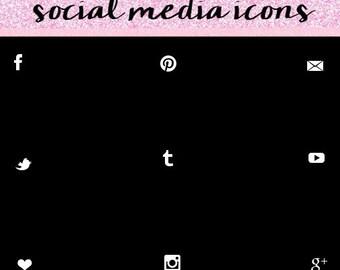 White Social Media Icons, Simple Social Media Icons, Social Media Icons.