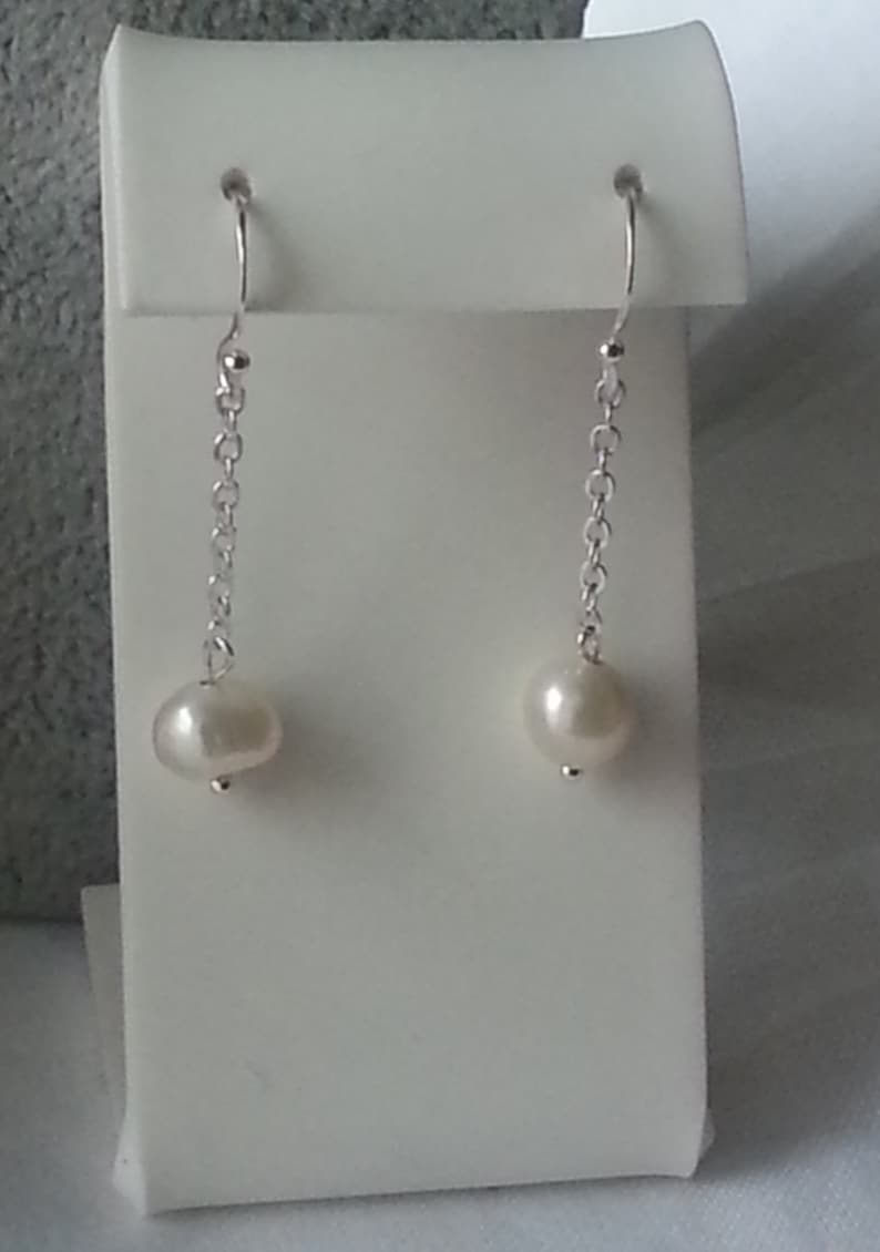 Dangle Natural Freshwater White Pearl Earrings,925 Sterling Silver Drop Earrings,Pearl Earrings,Perfect for Modern Brides Bridesmaids,Gift