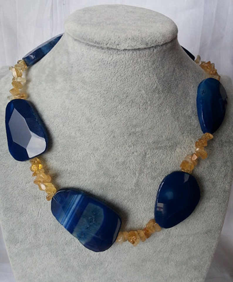 Agate/'Citrine Beads/'Sterling Silver Necklace,Choker,Gemstone beads,Christmas Gift/'Gemstone Choker Necklace/'Gift Idea,Citrine beads,Gift