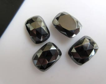 BB458 6 Pieces 14x10mm Calibrated Natural Hematite Cushion Shaped Rose Cut Cabochons Faceted Flat Back Hematite Loose Gem Stone