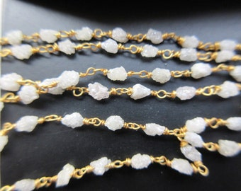 925 Sterling Silver24 KT Gold Plated By The Inch 18 Natural Gray Raw Diamond Beaded Chain Wire Wrapped ChainRosary Style Chain