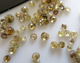 Diamante Amarillo 8 Suelto Facetas rondas 1.5 mm cada uno