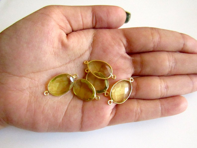 Bezel Connectors SKU- 925 Sterling Silver Vermeil Gold Connectors 5 Pieces Hydro Quartz Jewelry Connectors Lemon Quartz Color