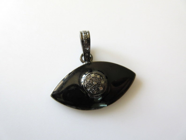 CS-DB Pendants Evil Eye Black White Dazzling CZ Silver Necklaces