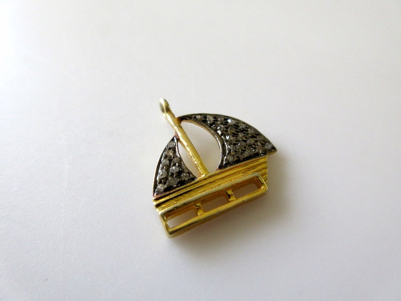 5 Pieces Wholesale Natural Diamond Pave Yatch Charm Pendant Finding GDS342 925 Sterling Silver Antique Gold Finish Charm 16x17mm