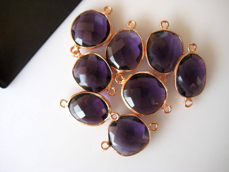 10Pcs Amethyst Color Hydro Quartz Jewelry Bezel Connectors CCC4 Silver Gold Rose Gold Gemstone Connectors