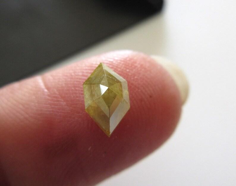 0.65CTW Yellow Green Rose Cut Diamond Loose Cabochon DDS5425 Natural Diamond Flat Back Rose Cut Faceted Shield Shape Rose Cut Diamond