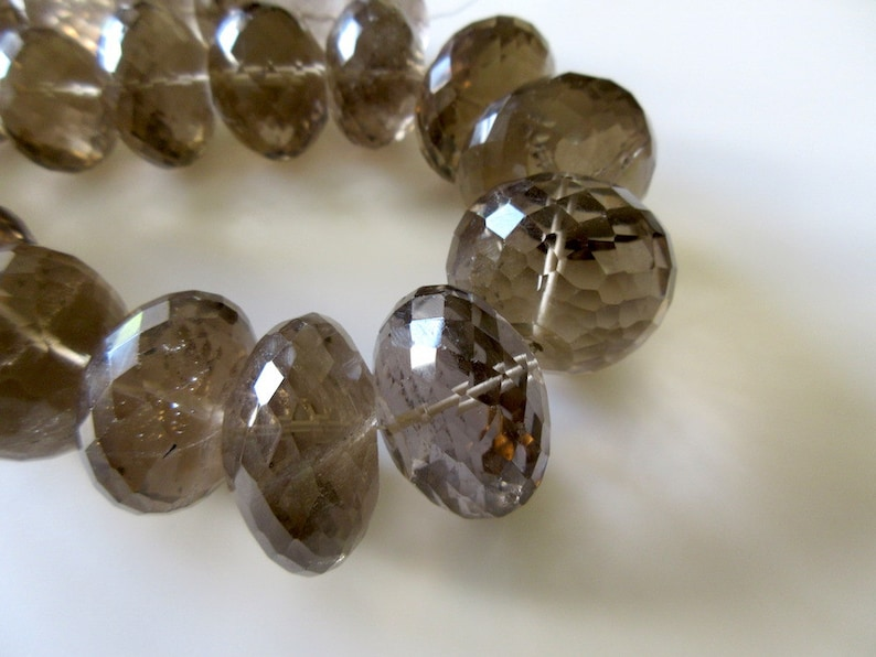GDS165 One Of A Kind Beads 18 Inch Strand Huge Rare 33mm To 20mm Natural Smoky Quartz Micro Faceted Rondelles Beads