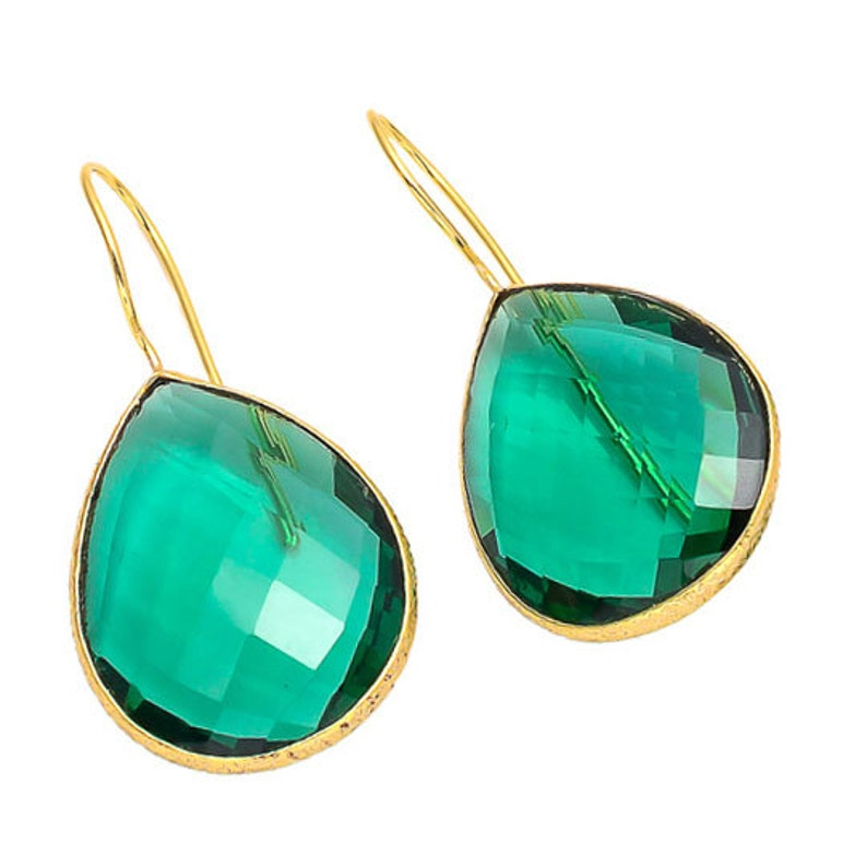 5 Pairs Wholesale Green Hydro Quartz Hook Earring Lot Wholesale Rose Cut Jewelry Gemstone Connectors SKU-CC169 Bezel Connectors