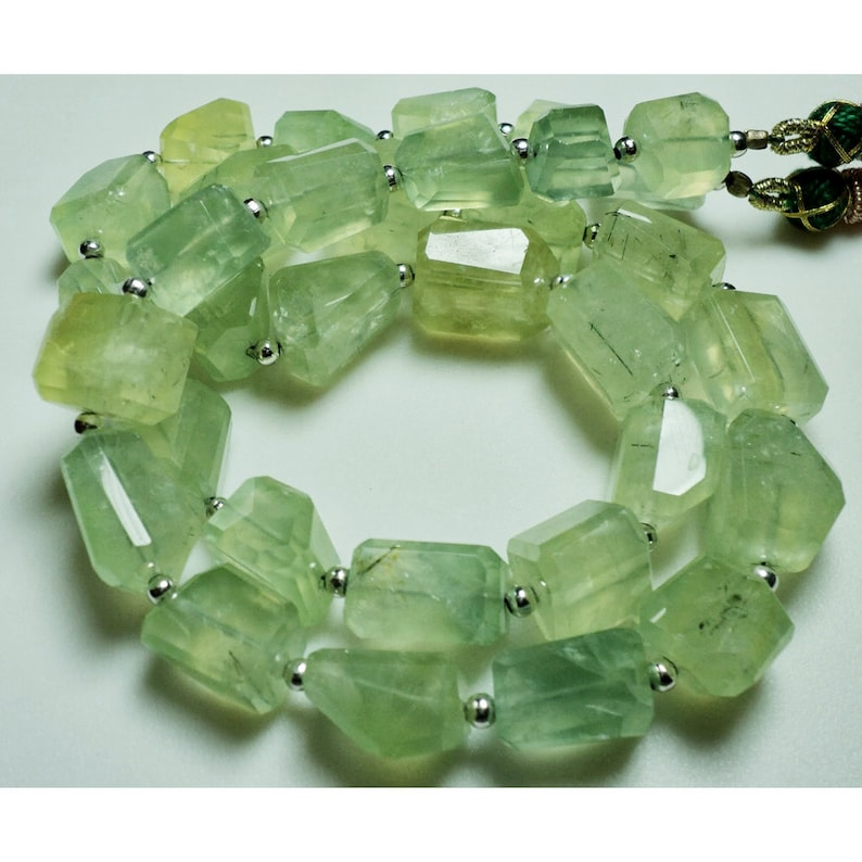 32 Pieces approx 20 Inch Strand Prehnite Tumbles Prehnite Gemstone Beads 11x13mm To 10x17mm Beads Step Cut Tumbles AAA Gemstone