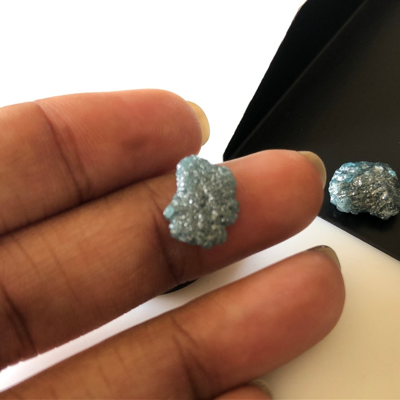 1 Piece 10mm To 11mm Light Blue Flat Rough Raw Diamond Loose Natural Rough Diamond For Ring Earring DDS65110