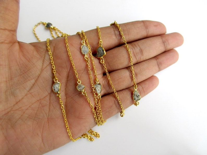 24 KT Gold Plated Chain By the Foot Style 24 Inches Raw Diamond Connector Chain 925 Sterling Silver Bezel Connectors