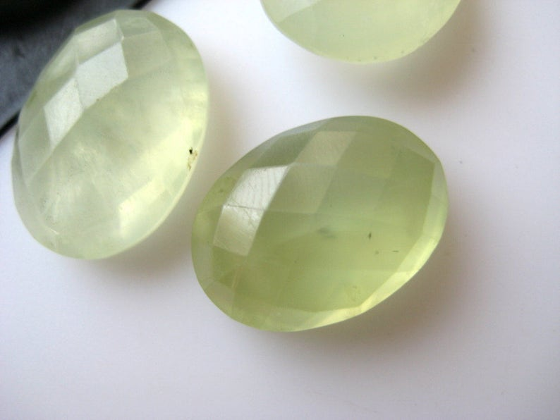 BB22 10 Pieces Oval Shaped Natural Prehnite Briolettes Both Side Faceted Calibrated Loose Gemstones Cabochon 13x17mm Each