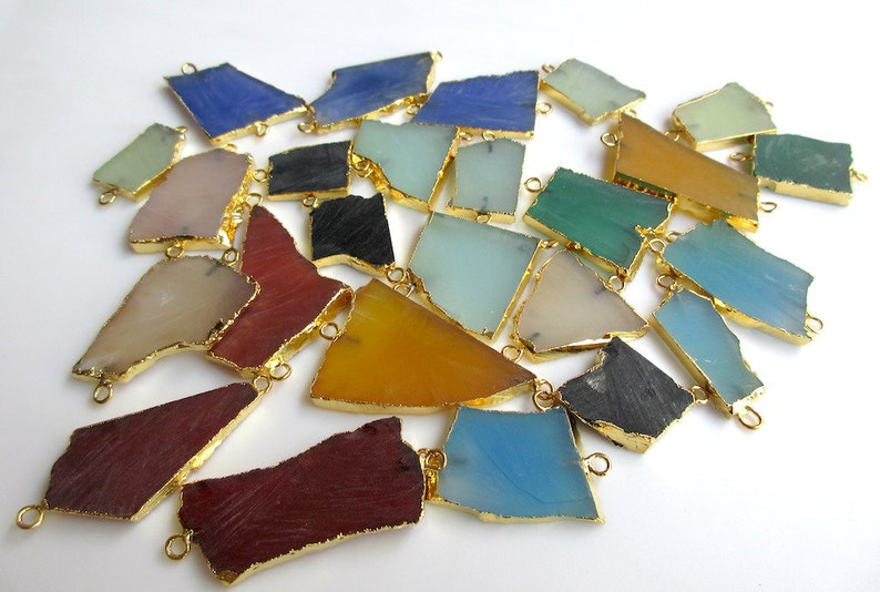 50mm To 30mm Approx Raw Gemstone Slice Connectors 5 Pieces Blue Chalcedony Connectors SKU-OS2 Electroplated Connector