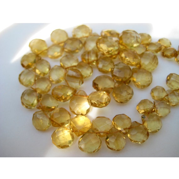 4873 Natural CITRINE Faceted heart and Trillion shape beads Gemstone 3X3.5 mm to 6X6 mm Approx size heart 9 inch strand M No.