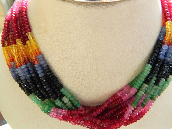 Multicolor Gemstone Beads Sapphire Necklace Faceted Rondelle Beads 17 Inch Full Strand,valentines gift 2.5MM Size Precious Beads