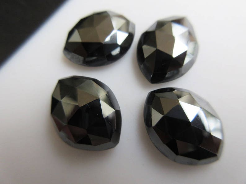 6 Pieces 16x12mm Calibrated Natural Hematite Marquise Shaped Rose cut Cabochons BB451 Faceted Flat Back Hematite Loose Gem Stone